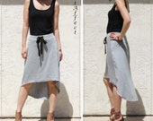 High-Low Hem  Aline Skirt-Heather Gray Jersey
