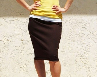 Brown Everyday Pencil Skirt, Jersey Knee Length Skirt, Pull on Skirt/ Best Seller - Coffee Brown