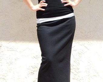 Everyday Long Skirt, Black Maxi Skirt, Jersey Long Skirt, Long Straight Skirt, Jersey Skirt, Black Skirt - Black
