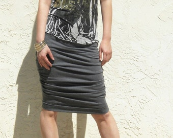 Shirred Jersey Skirt- Charcoal Gray
