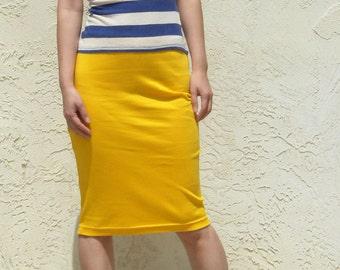 Everyday Yellow Pencil Skirt, Jersey Pencil Skirt, Midi Skirt, Yellow Skirt, Summer Skirt, Pull On Skirt, Elastic Waist Skirt / Best Seller