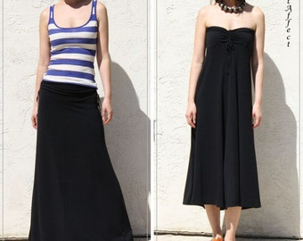 Off Shoulder Dress, Maxi Skirt, Beach Dress, Draw String Maxi Skirt, Long Skirt, Black Jersey Skirt, Full Skirt,  Fold Waist Skirt