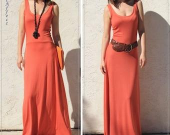 Low Back Flare Maxi Dress, Orange Maxi Dress, Vacation Dress, Scoop Back Maxi Dress, Fit and Flare Maxi Dress, Jersey Maxi Dress, Sun Dress