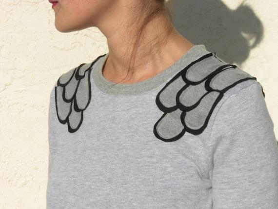 Gray Swing Top, Unique Sweatshirt, Loose Sweater, Fashion Sweatshirt,  Flare Sweater, Pull Over - Gray