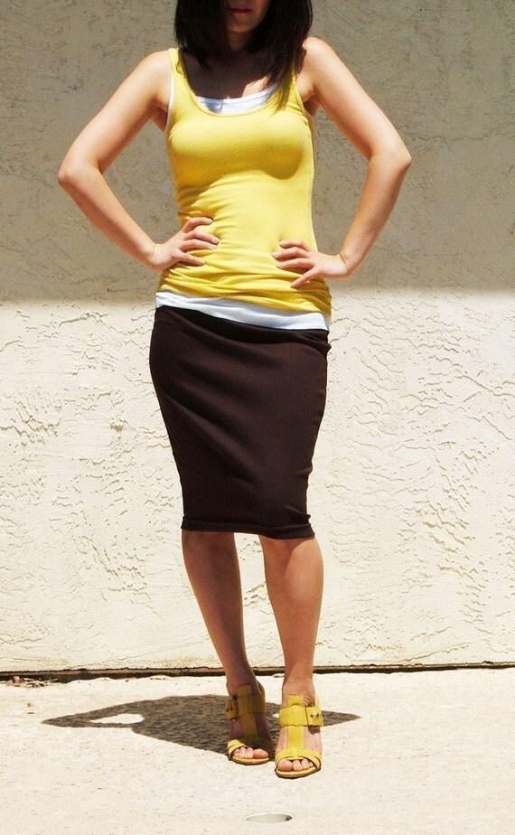 Brown Everyday Pencil Skirt, Jersey Knee Length Skirt, Pull on Skirt/ Best Seller - Coffee Brown