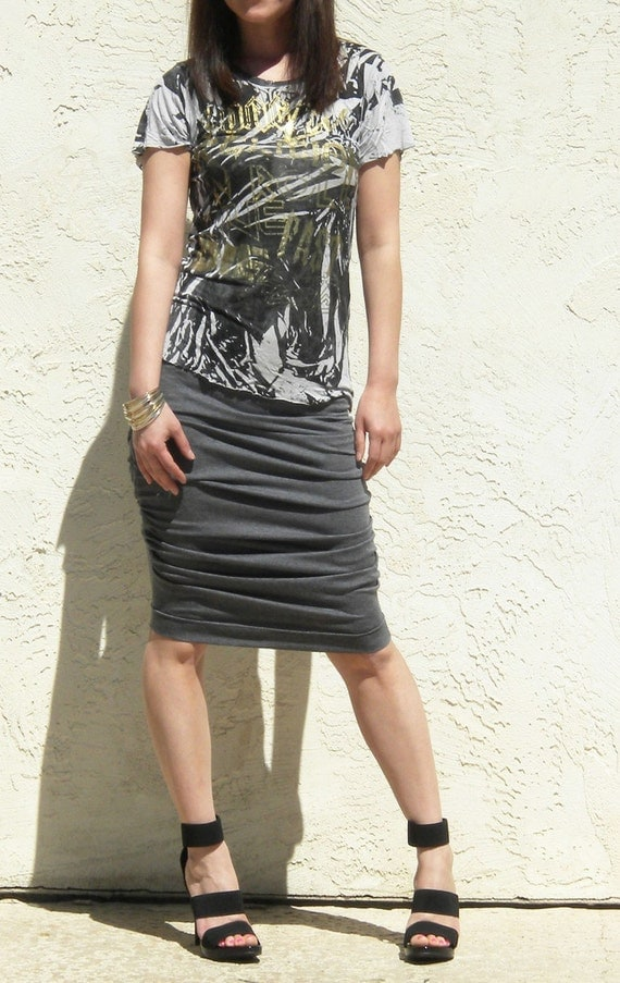 Gray Shirred Jersey Skirt, Ruched Pencil Skirt, Jersey Skirt, Draped Skirt, Knee Length Skirt - Charcoal Gray