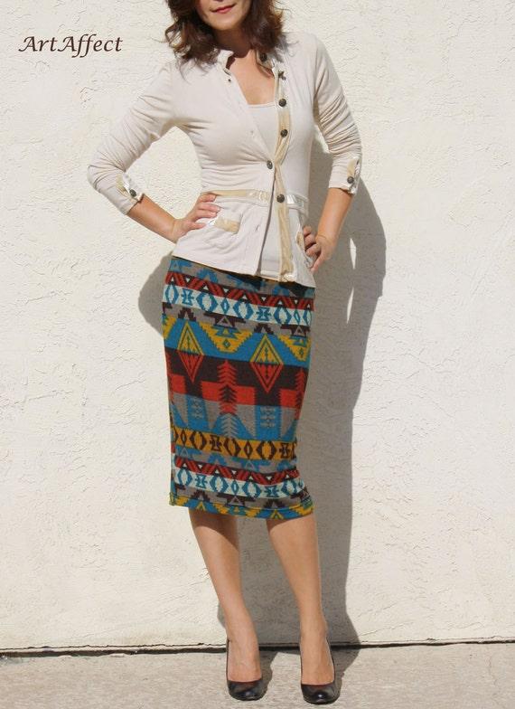 Knit Everyday Pencil Skirt- Native Multi Stripe