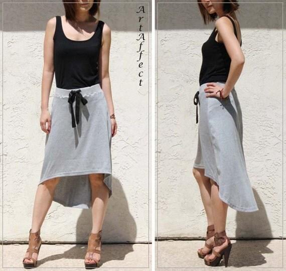 High-Low Hem  Aline Skirt, Tie Waist Skirt, Gray Jersey Skirt, Midi Skirt, Pull On Skirt, Casual Skirt  / Handmade Skirt