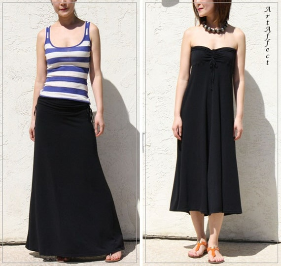 Two Way Maxi Skirt and Dress with draw strings - Black Modal