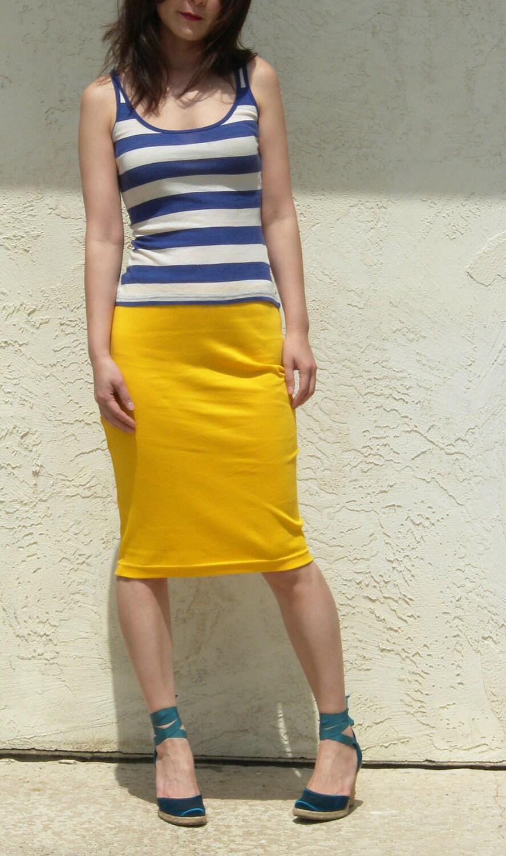 everyday yellow pencil skirt jersey pencil skirt midi skirt