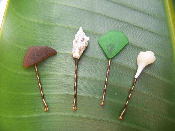 Shell Hair Pins Bobbypin Seaglass Ocean Beach Sea Tropical Wedding Beach Stone Pebble by Vixen Design Studio on Etsy