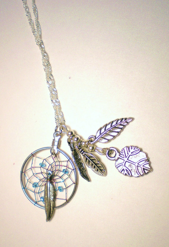 ON SALE  Dream Catcher in Silver Blue & Pink on Silver Chain with Leaves