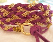 Violet, Purple Suede Wrap Bracelet, Non-tarnishing Gold Wire, Chain, Cuff, Anklet, Fits all wrist sizes, Braided, Bridesmaid Gifts