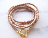 Natural Nude Braided Leather Cord Bracelet with Matte Gold Toggle Clasp, Friendship Bracelet, Friends Bracelet, Hippie Bracelet