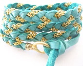Rich Turquoise  Deerskin Leather Wrap Bracelet, Gold Chain, Cuff, Anklet, Headband, Ponytail Wrap, Fits all wrist sizes, Wire Wrapped