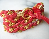 Ruby Red Deerskin Leather Wrap Bracelet, Gold Chain, Cuff, Anklet, Headband, Ponytail Wrap, Fits all wrist sizes, Wire Wrapped