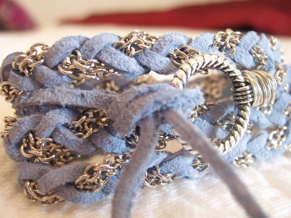 Ice Blue Soft Suede with silver Chain, Clasp, Braided Leather Wrap Bracelet, Anklet, Chain, Bridesmaid