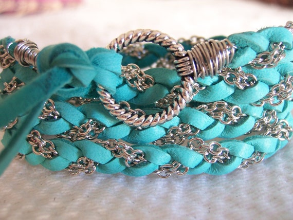 Rich Turquoise Deerskin Leather Wrap Bracelet, Silver Chain,Wire Wrapped, Cuff, Anklet, Fits all , Braided, Wire Wrapped, Original