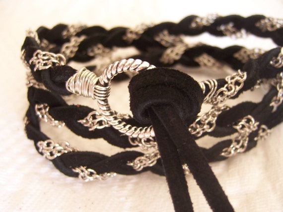 Black Suede Leather Wrap Couture Bracelet, Silver Chain, Wire Wrap, Cuff, Anklet,  Fits all wrist sizes, Braided, Bridesmaid Gift Original
