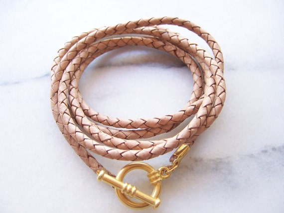 Natural Nude Braided Leather Cord Bracelet with Matte Gold Toggle Clasp