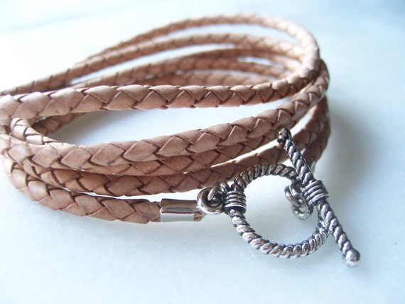 Natural Nude Braided Leather Cord Bracelet with Silver Rope Toggle Clasp
