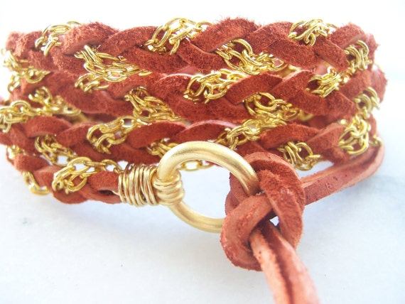 Tangerine, Pumpkin, Orange, Soft Suede Leather Wrapped Bracelet, Braided bracelet, Gold Chain, Clasp, Wire Wrapped, Fits All Sizes