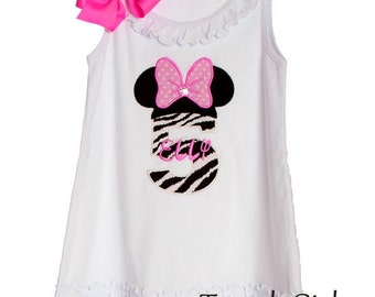 Custom TrendyGirlz Minnie Mouse Birthday Letter or Number Disney Tank Dress