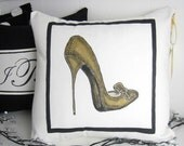 Painted Pillow Cover Decorative High Heel Shoe 16 inch