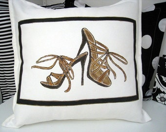 Shoe Decoration High Heels Pillow with Insert Tan and Cream Hand Painted 16 X 16 Made in Canada Ready to Ship