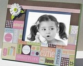 Embellished Photo Frame for Girl Pink, Green, Brown - Holds 4 x 6 Photo