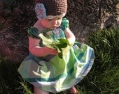 Brown Organic Crochet Baby Hat with Interchangeable Flowers 6-12 Months