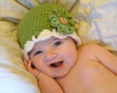 Green Organic Crochet Baby Hat with Interchangeable Flowers