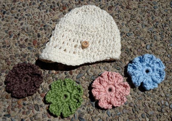 Cream Organic Crochet Brim Baby Girl Hat w/ Interchangeable Flowers