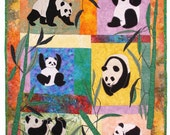 Pandas, Machine Applique Pattern by Debora Konchnsky, Critter Pattern Works