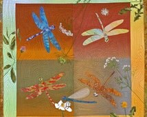 Dragonflies,  a PDF Machine Applique Pattern for a Wall Quilt by Debora Konchinsky, Critter Pattern Works