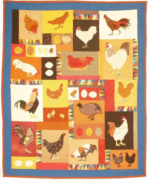 Fancy Fowl,  a Machine Applique Quilt Pattern, Debora Konchinsky