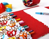 Travel bag for crayons - large crayon wallet - Peace Monkeys (LAST ONE)
