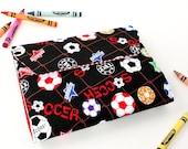 Soccer 1 Deluxe Crayon Wallet, Ready to ship, Crayon organizer, Crayon holder, Art toy, Art wallet, Toddler toy, Crayon set,  Holiday toy