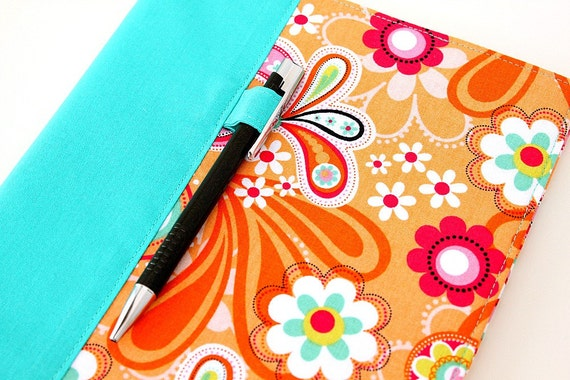 SALE Composition notebook cover - fabric cover - includes pen - Orange Paisley Bird (LAST ONE)