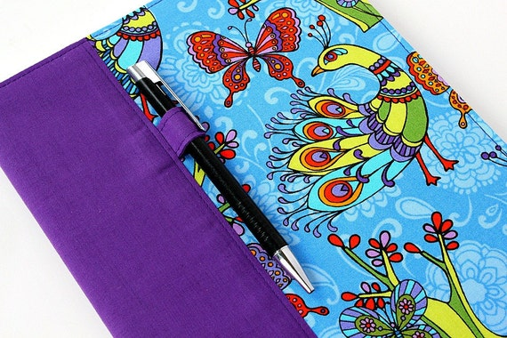 Reusable journal cover for composition notebooks with option to personalize with a name, teacher gift, office decor - includes pen - Peacock