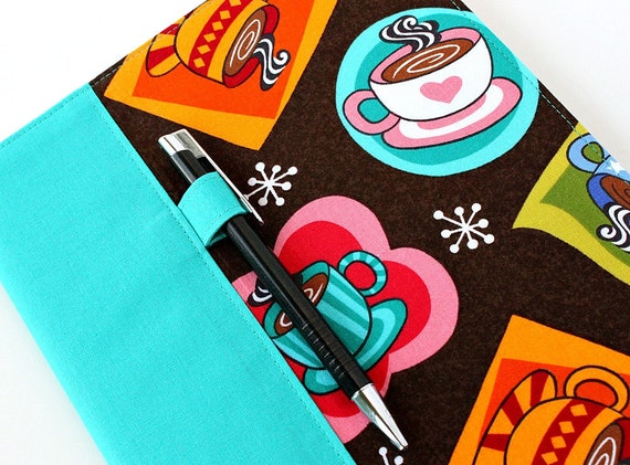 Teacher gift - Deluxe fabric journal cover for composition notebooks - includes pen - Coffee