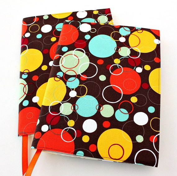 Notebook cover - fabric journal cover for composition notebooks - Bubble Dots
