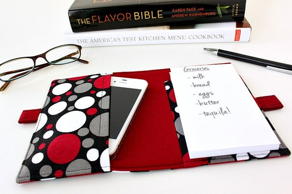 Mini notepad clutch - coupon and grocery list organizer - Dots (LAST ONE)