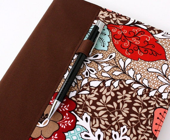 Fabric journal cover for composition notebooks - includes pen - office decor - Devon (LAST ONE)