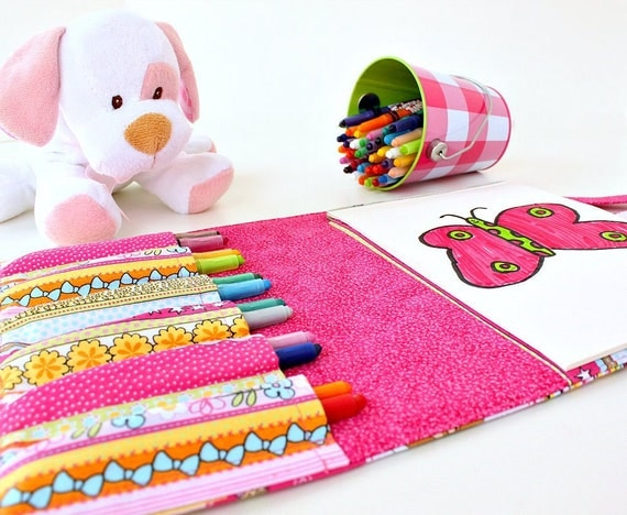 Crayon holder - busy bag with crayons - Sugar Plum Fairies (Ready To Ship)