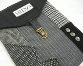 Ipad case,iPad 3 and iPad 2 case vintage, gray pinstripe,  Eco Friendly  Recycled suit coat