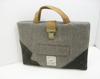 """Macbook tote Recycled Suit Coat, Laptop Sleeve,  13"""" macbook , Eco Friendly"""
