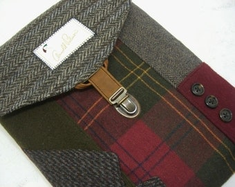 ipad case, iPad 2 case vintage,  iPad 3,olive wool,  Eco Friendly  Recycled suit coat