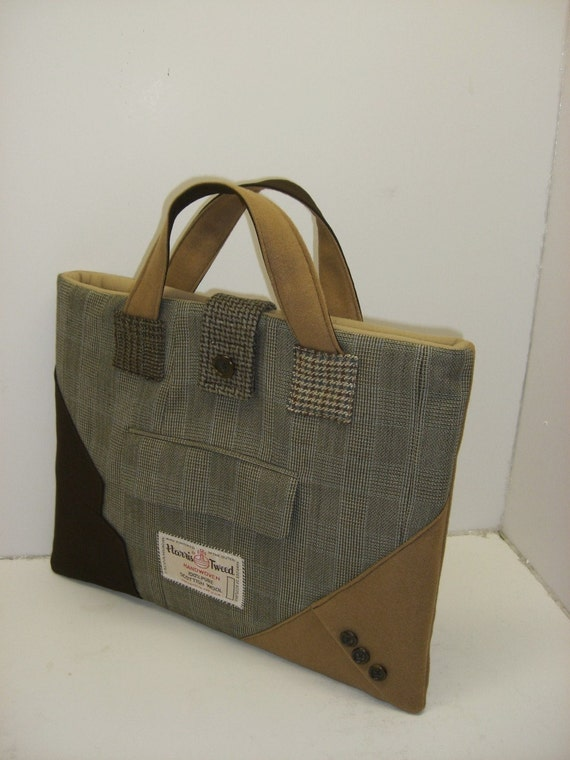 "Recycled Suit Coat, Laptop Sleeve,  15"" macbook  Tote, Eco Friendly"