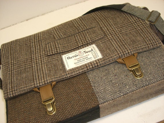Messenger Bag, Laptop Sleeve, Trunk Latch,  Large, Recycled Suit Coat